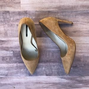 Zara Pointed Toe Tan Suede Leather Heeled Pump